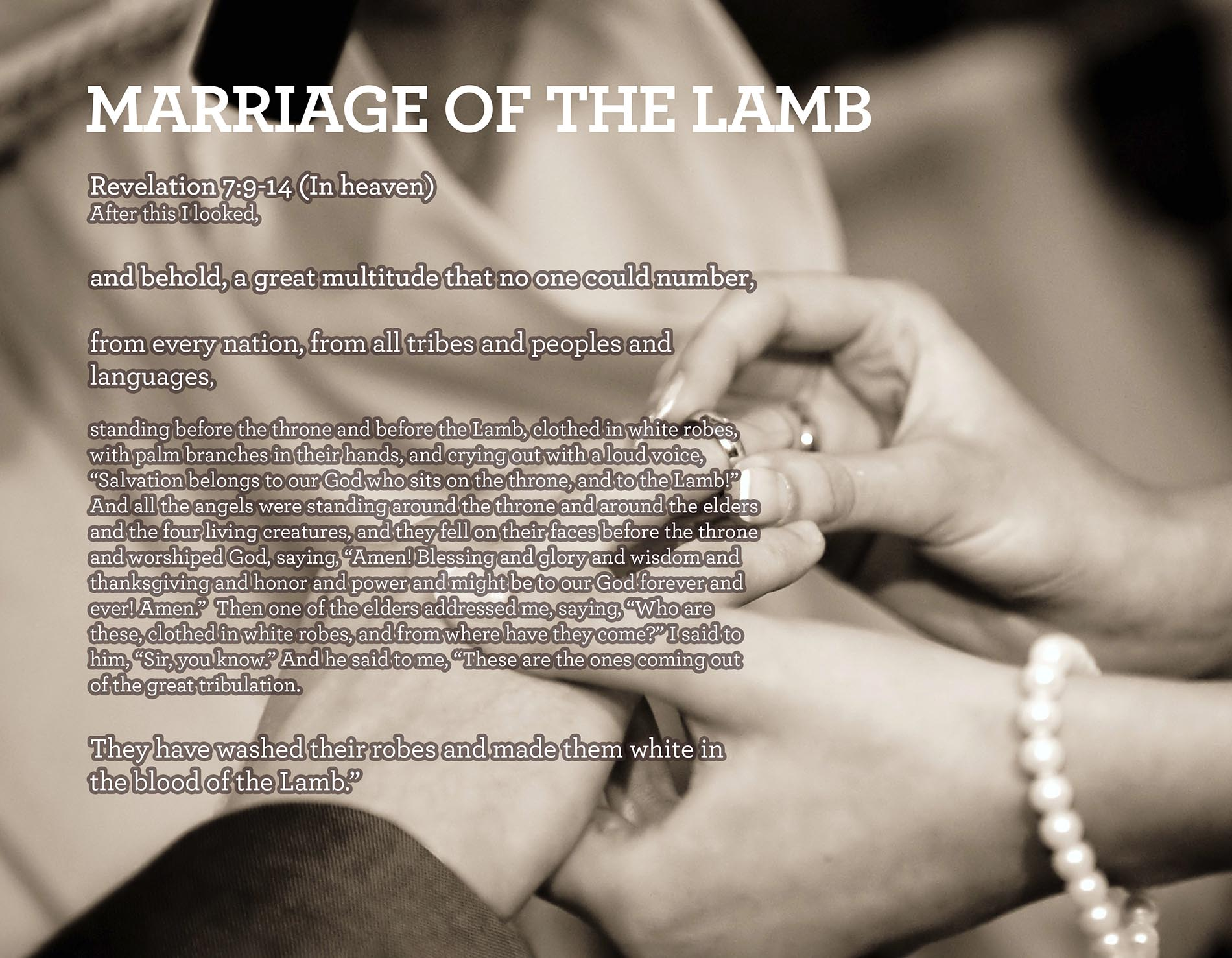 MARRIAGE OF THE LAMB Revelation 7:9-14